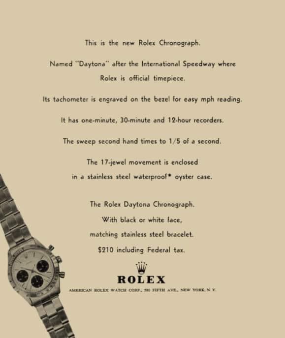 """Im Jahr 1965 schaltete Rolex Anzeigen für den neuen Rolex """"Daytona""""-Chronographen"""