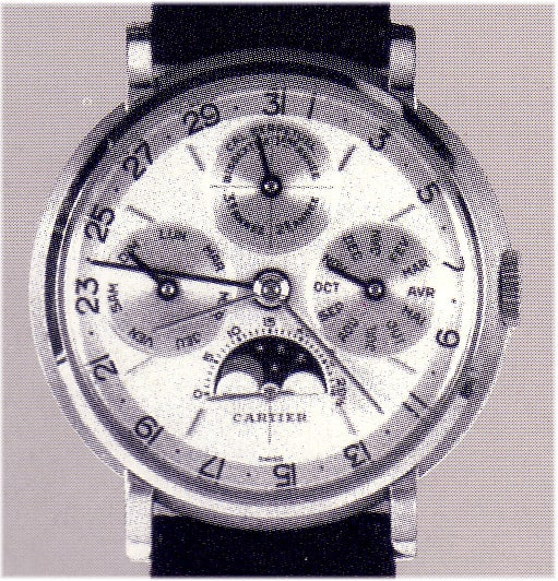 Diese Cartier Uhr war von Audemars Piguet, Modell 5516 mit ewigem Kalender für Cartier, Kaliber Valjoux 1