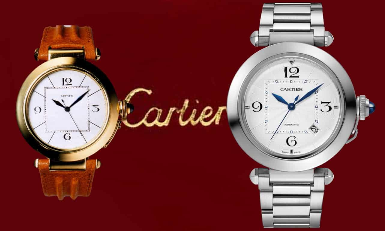 Cartier Pasha  von 1985, Gelbgold, mit 38 Millimetern Durchmesser und Cartier Pasha de Cartier von 2020, Edelstahl, 41 Millimeter, Gliederband