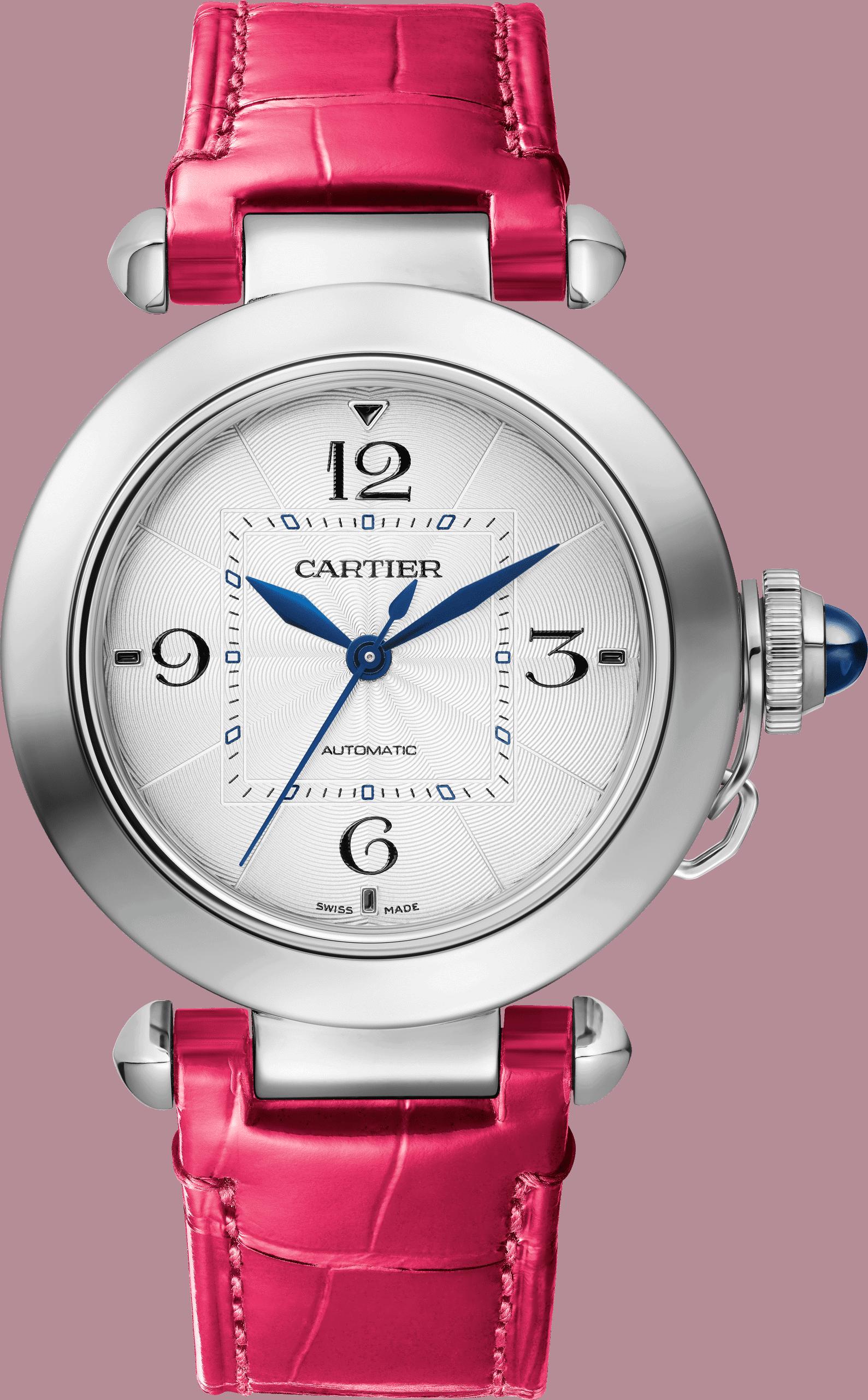 Die kleine Cartier Pasha de Cartier in Edelstahl, 35 Millimeter, Lederband, Referenz WSPA0012