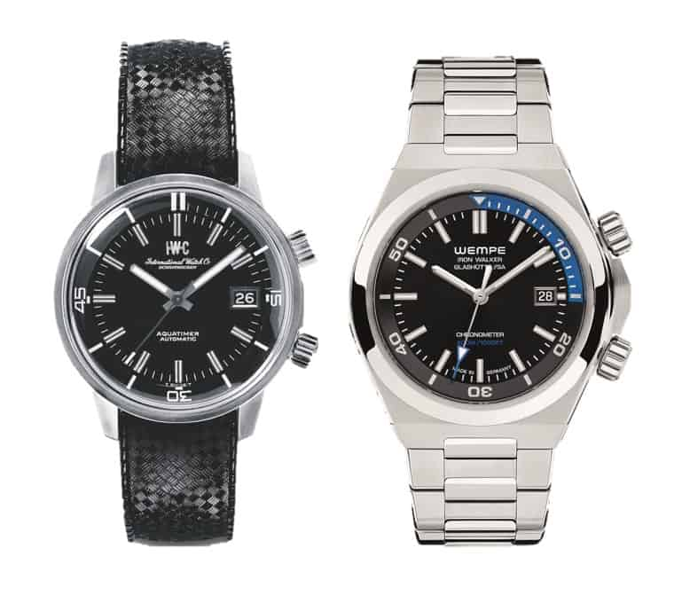 Der der IWC Aquatimer von 1967 und die Wempe Iron Walker Taucheruhr von 2020