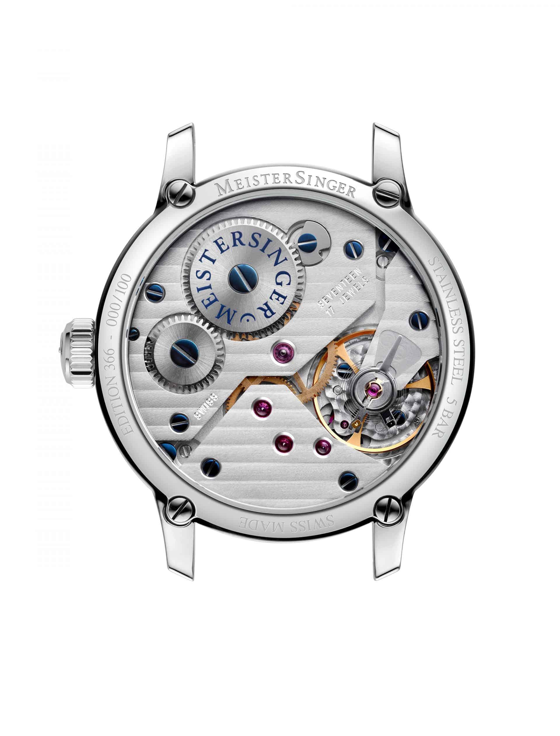 Die MeisterSinger Edition 366 mit dem Handaufzugskaliber Unitas 6498 sowie dekoriertem großen Uhrwerk mit Streifenschliff und gebläuten Schrauben.