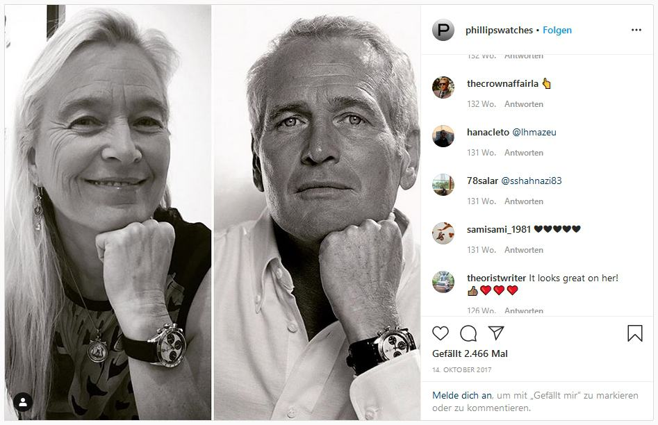 Paul Newman und sein berühmter Chronograph ist auch auf Instagram ein Star - Foto Phillips Auctions auf Instagram
