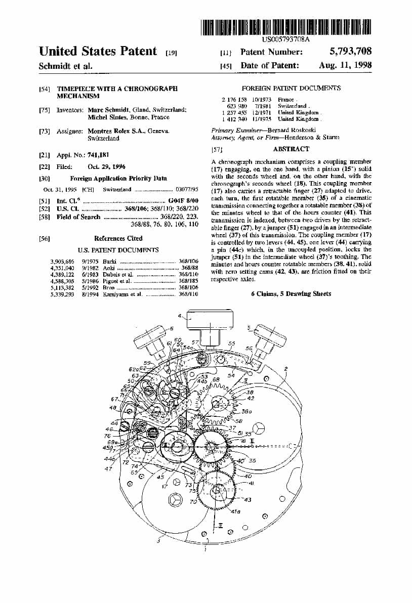 Das erteilte US-Patent für das Automatikkaliber Rolex 4130