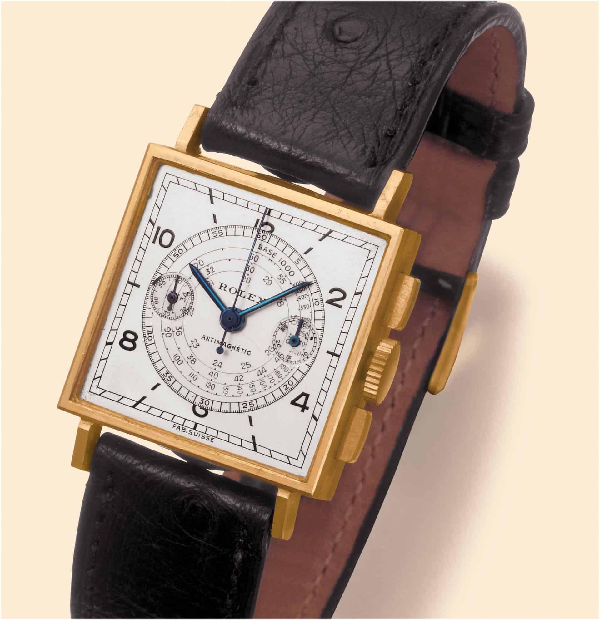 Rolex Chronograph, Referenz 3529, mit dem kleinen Handaufzugskaliber Valjoux 69. Auch bei Damen beliebt.
