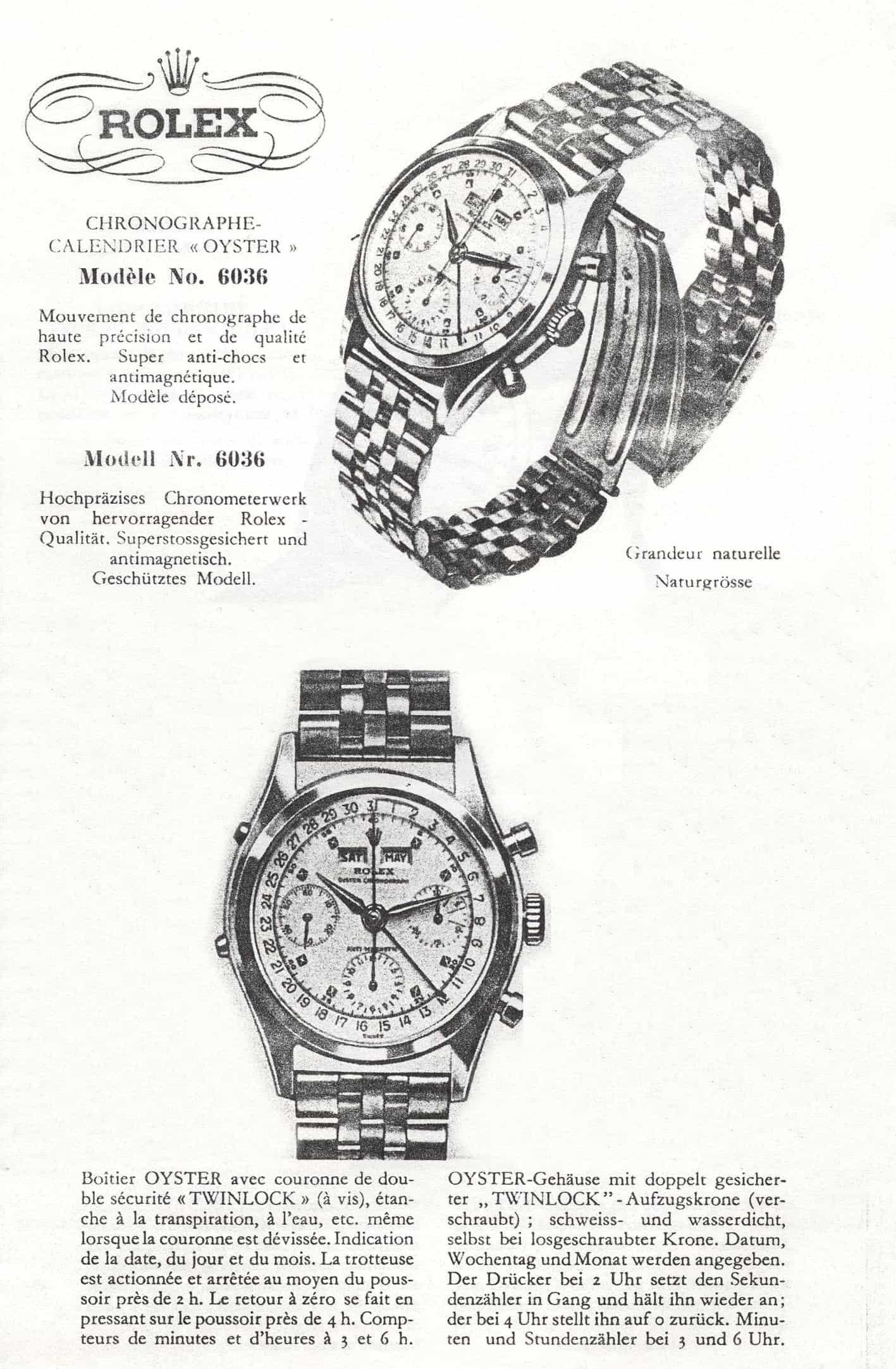 Rolex Oyster Chronograph, Referenz 6036, Kaliber Valjoux 72C, mit dem einfachen Vollkalender