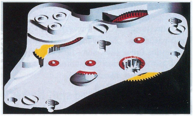 Ansicht von unten auf die Automatikgruppe des Kalibers Rolex 4130