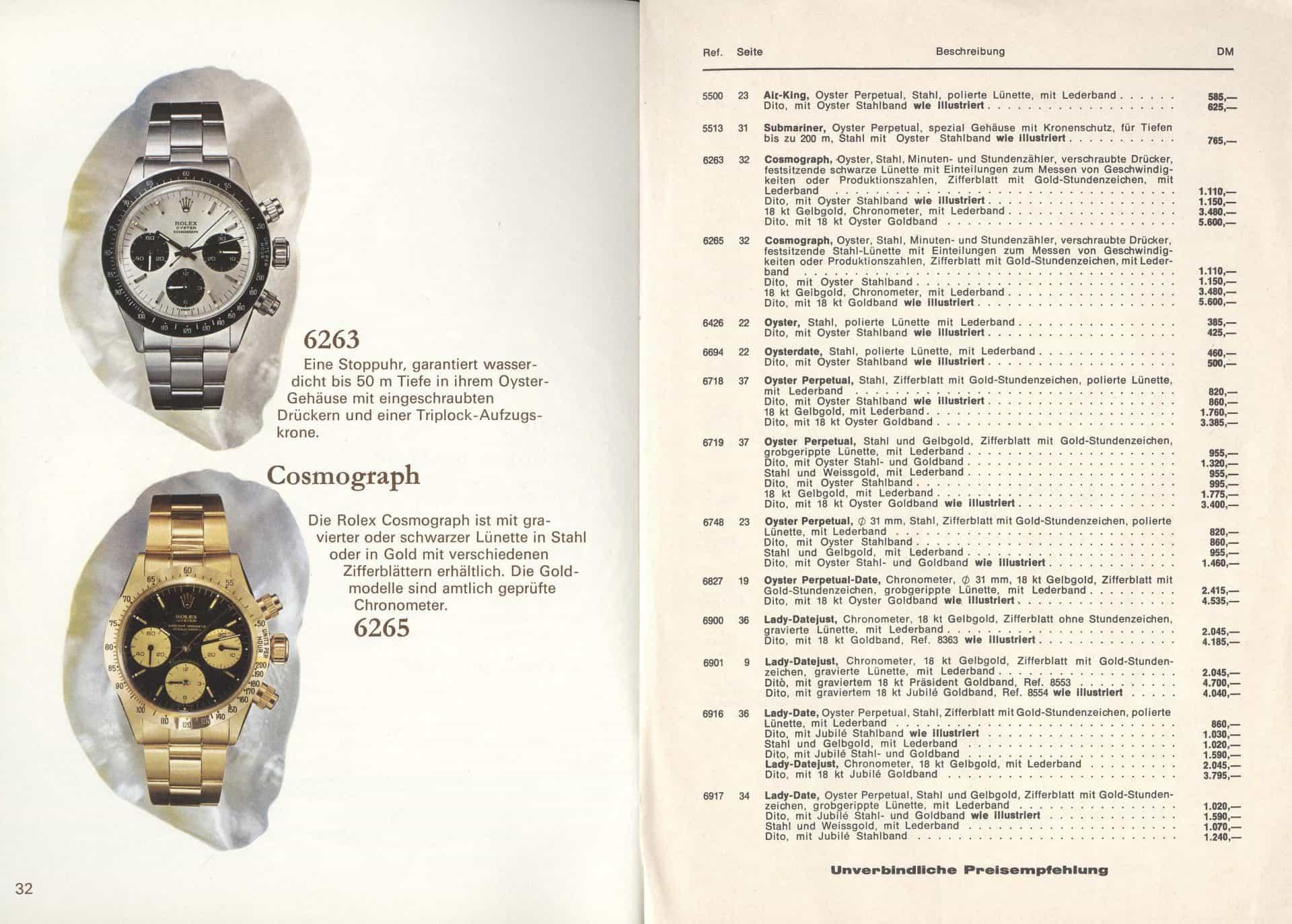 """Die Rolex """"Cosmograph"""" Referenzen 6263 und 6265, aus einem Rolex-Katalog von 1975"""