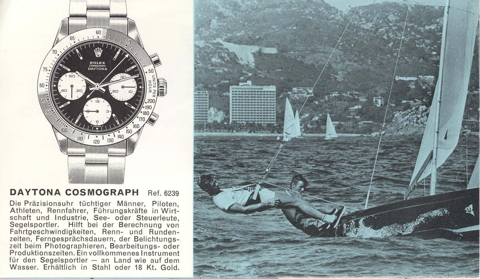 """Der Rolex-Lifestyle in einem alten Prospekt: """"Daytona Cosmograph"""" Handaufzugskaliber Valjox 72, Referenz 6239"""