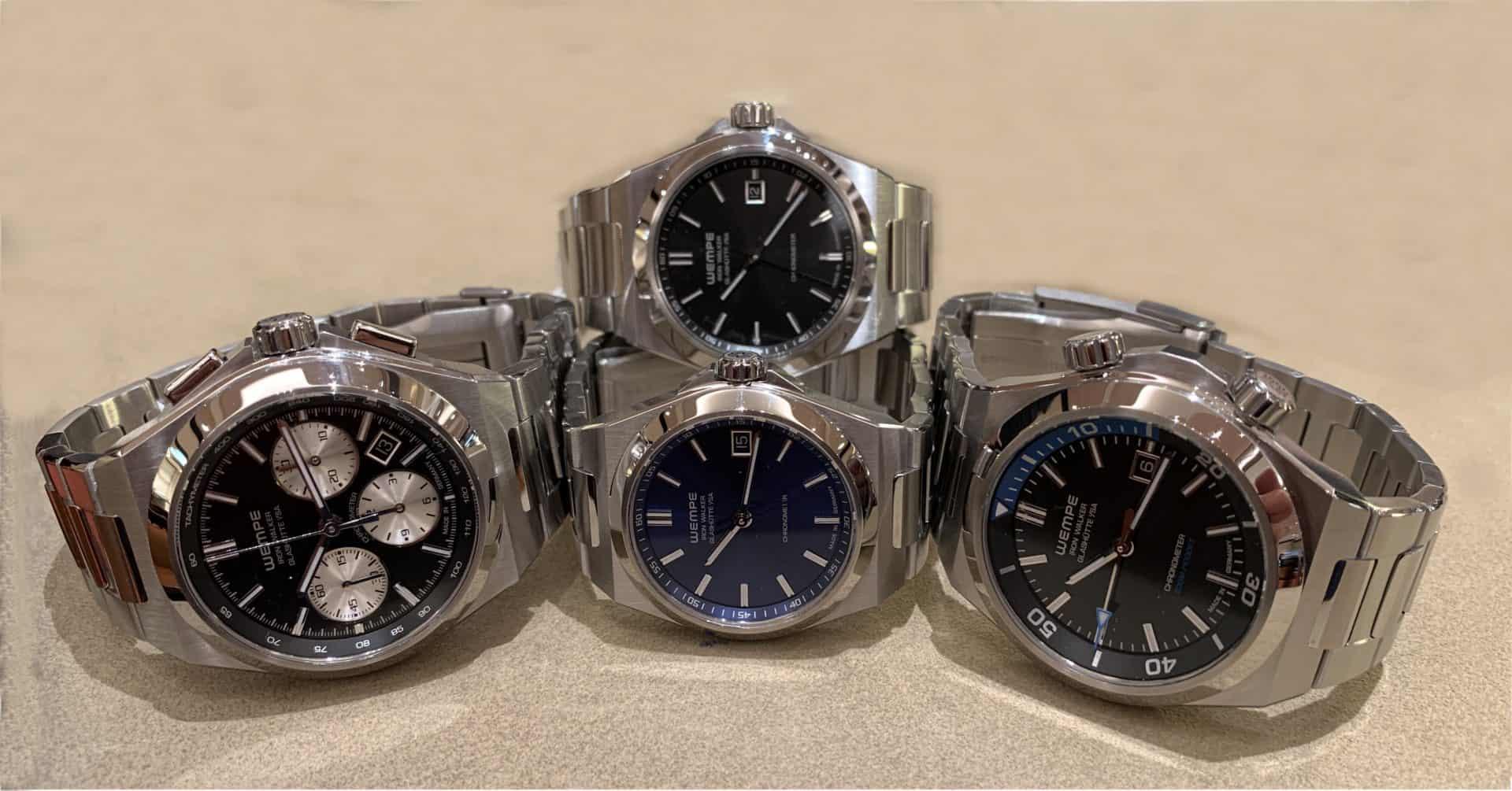 3 mal Wempe Iron Walker: drei Zeiger Uhr mit 36 und 40 Millimeter, Taucheruhr und Chronograph