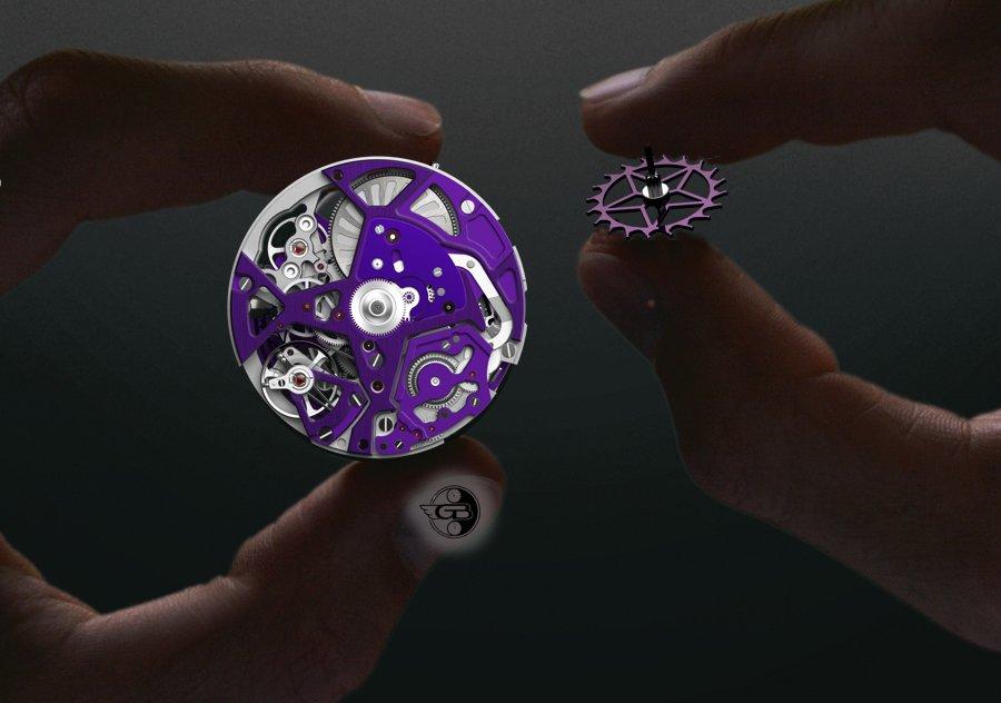 Farbige Akzente setzen die farbige PVD-PVD-Beschichtung und das violette amagnetische Silizium des Ankerrads