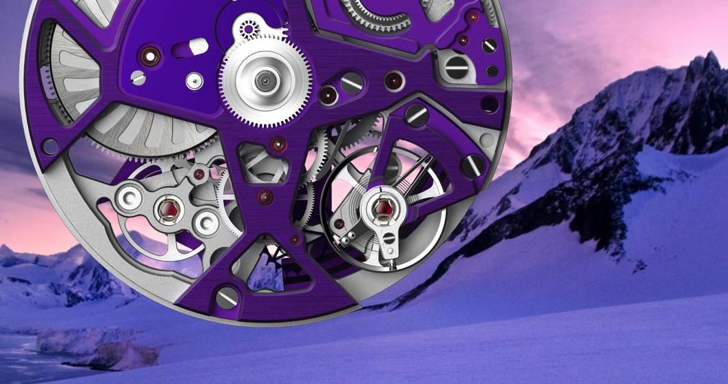 Im Kaliber 9004 der Zenith Defiy 21 Ultraviolet oszillieren zwei Gangregler. Einer für die normale Uhr, einer für den Chronographenpart