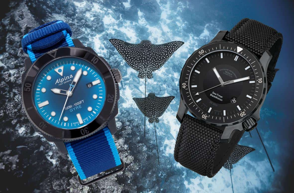 Taucheruhren Alpina Seastrong Diver Gyre und Mühle-Glashütte Sea-Timer BlackMotion