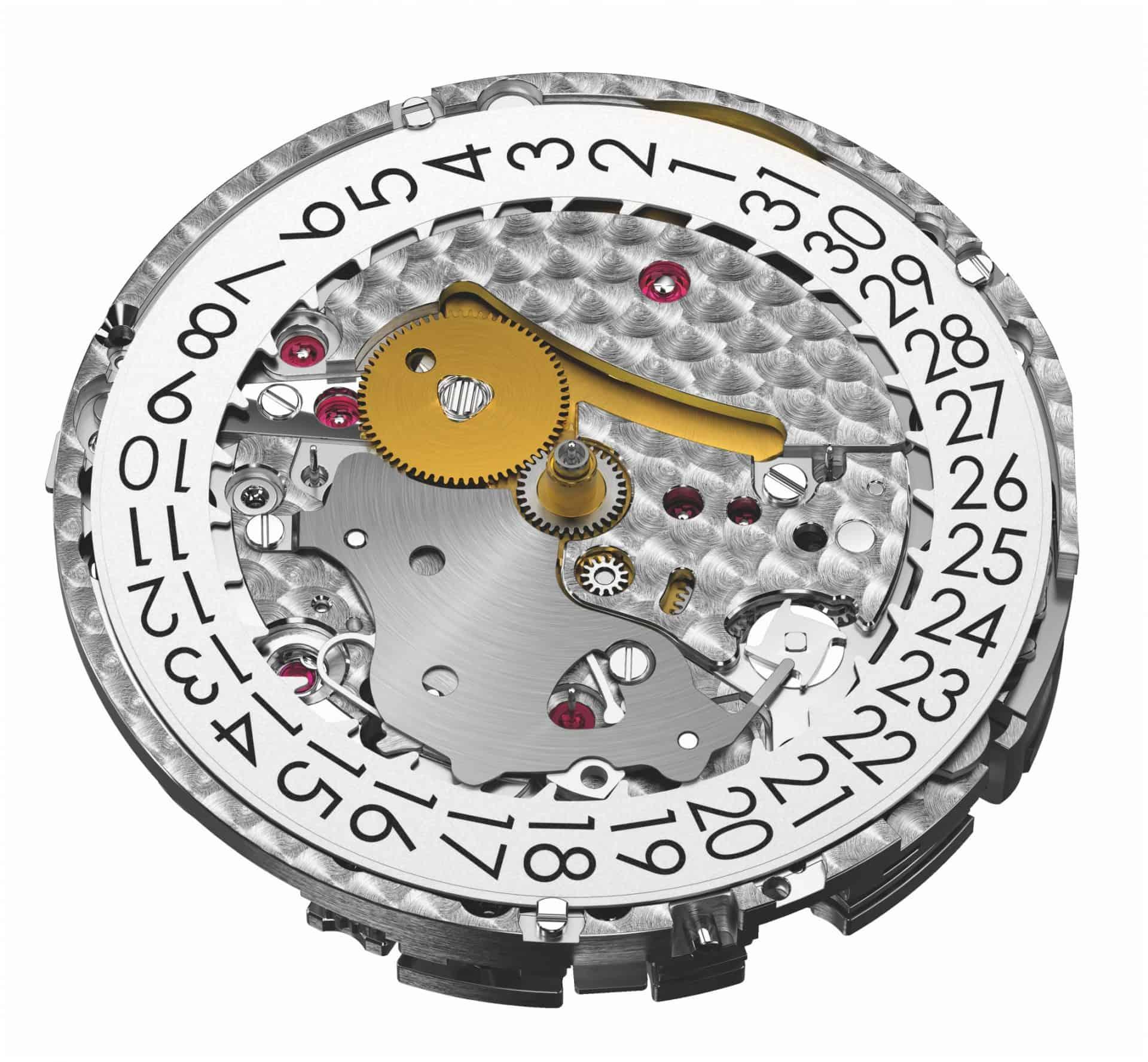 Das Audemars Piguet Automatikkaliber 4401 bei Ansicht unter dem Zifferblatt . Unübersehbar ist der Datumsring