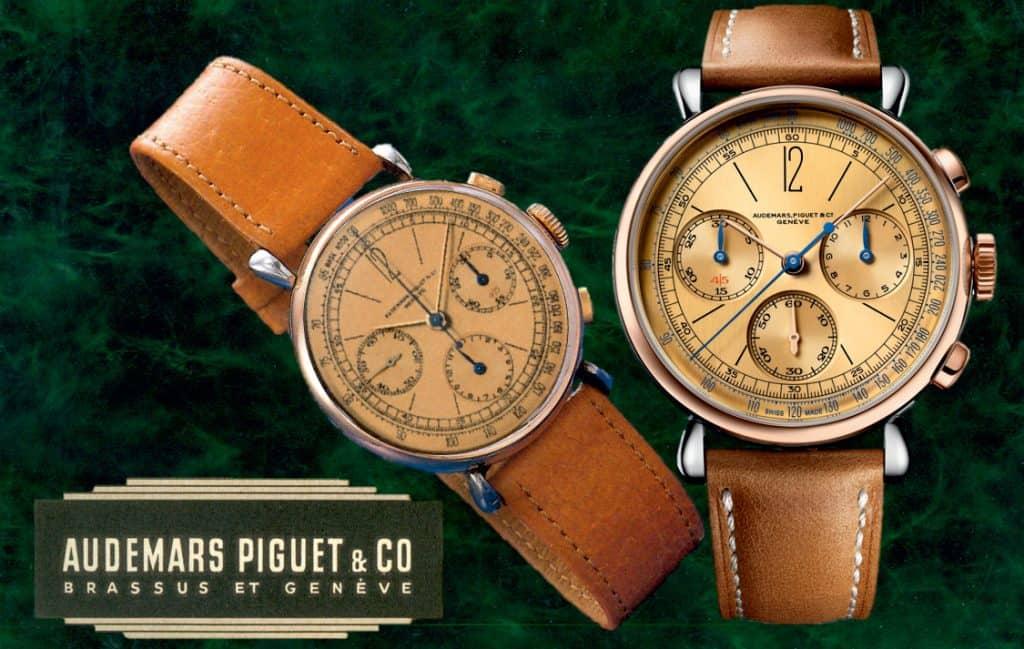 Von 1943 ins Jahr 2020. Rechts der Audemars Piguet Chronograph Referenz 26595SR.OO.A032VE.01