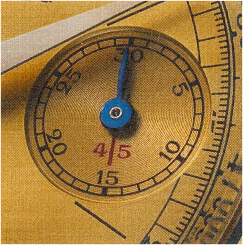 Die 45-Minuten-Markierung im Feld des Zählzeigers auf dem Zifferblatt