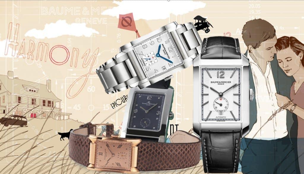 Vier Generationen rechteckiger Armbanduhren bei Baume & Mercier
