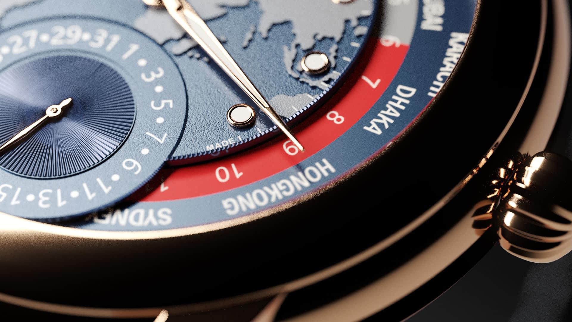 Die auf 88 Exemplare limitierte Frédérique Constant Classic Worldtimer Manufacture besitzt ein Zeigerdatum bei der 6