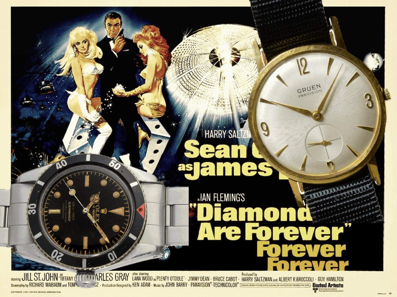 Ein weiteres Mal Sean Connery, Shirley Bassey und die Kombi aus Rolex Submariner und Gruen.