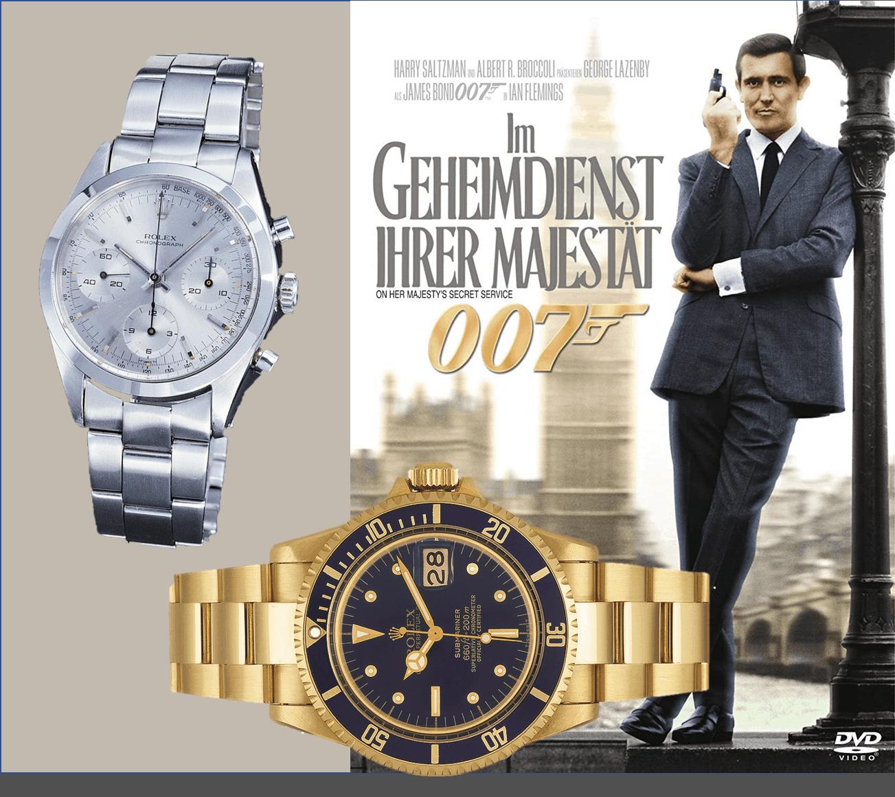 in Her Majestie's Secret Service trug der australische Bond George Lazenby die Rolex Modelle Ref. 5513 und 6238
