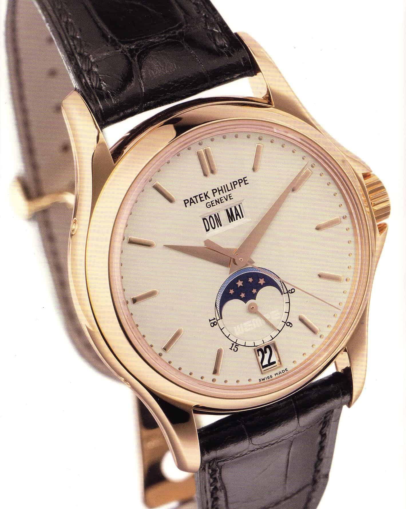 Zum 125. Firmenjubiläum von Wempe Hamburg gab es eine Patek Philippe W125 mit Jahreskalender und Mondphasenindikation.
