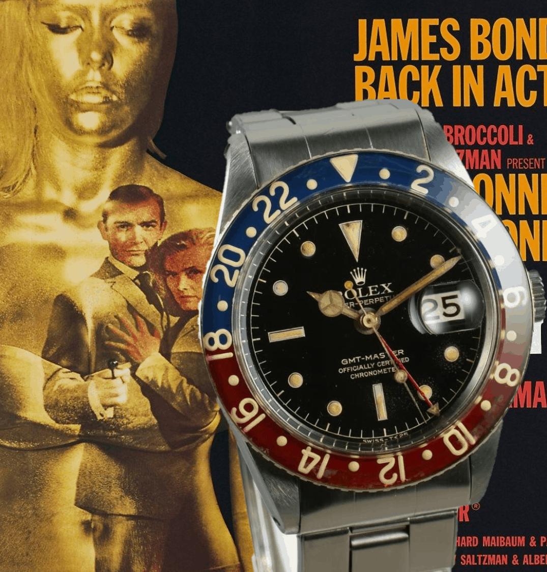 Vintage Rolex GMT Master I der Schauspielerin Honor Blackmann als Pussy Galore im James Bond Film Goldfinger