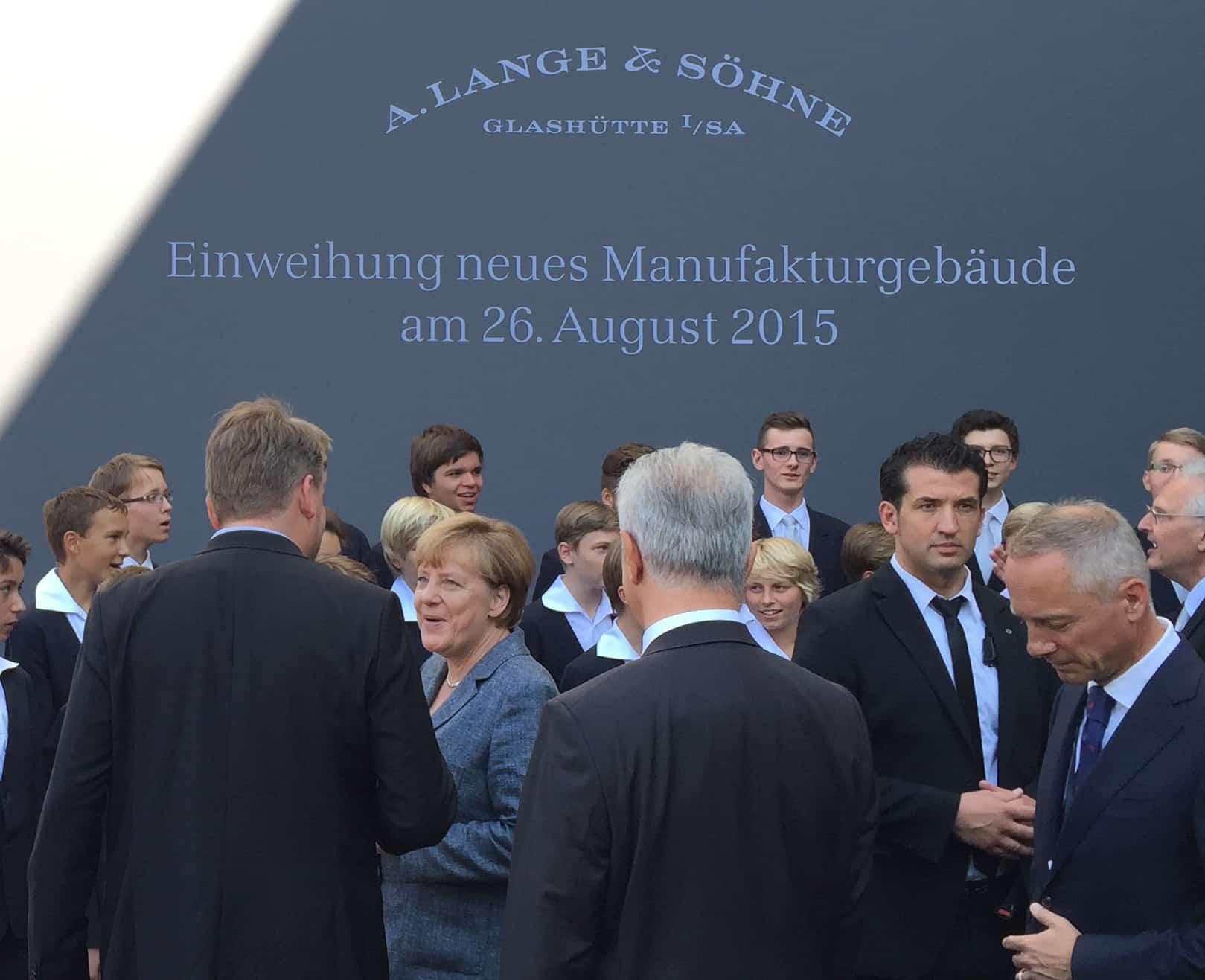 Die deutsche Bundeskanzlerin im August 2015 bei A. Lange & Söhne
