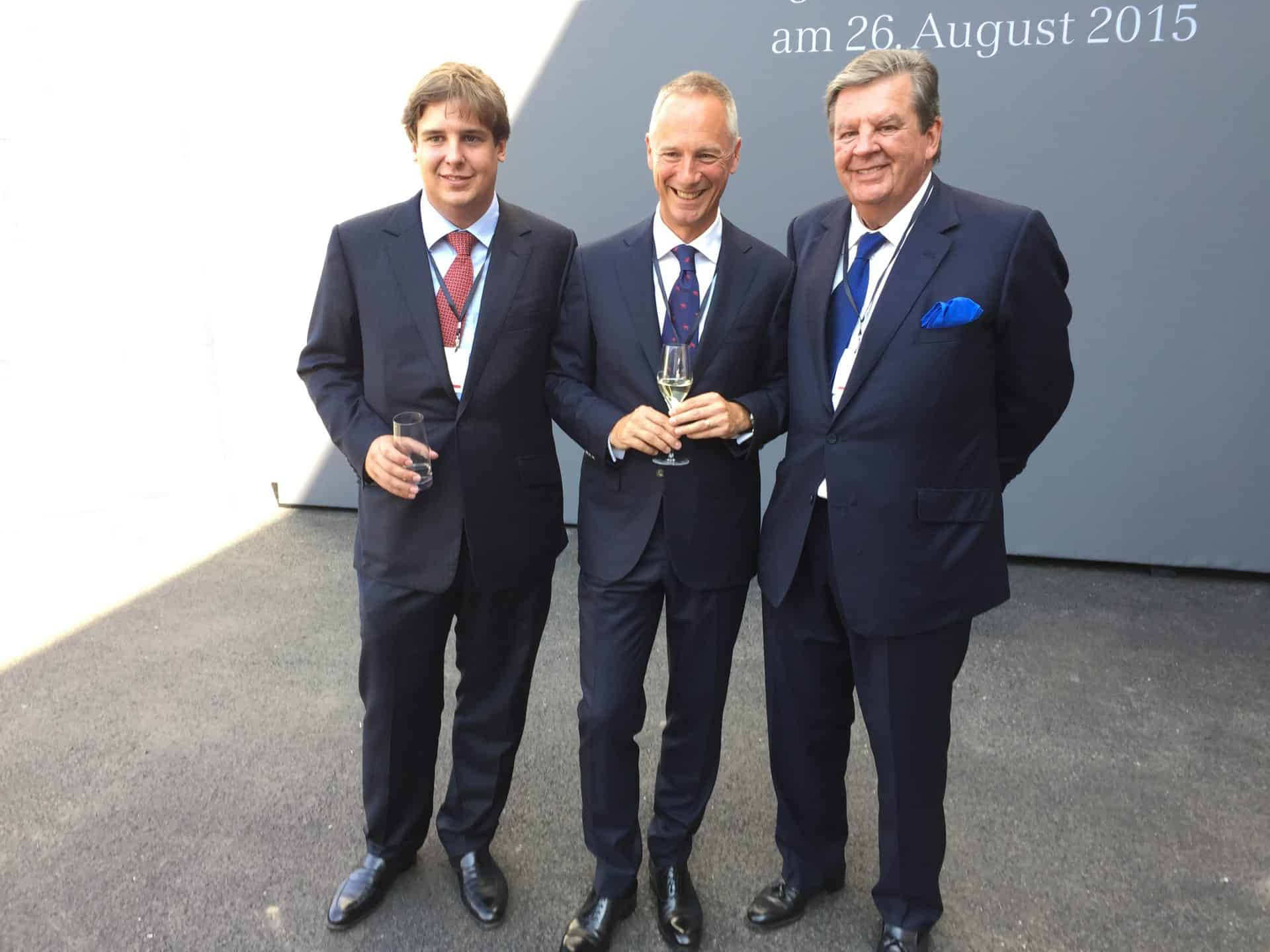 v. l. n. r.: Anton Rupert, Lange & Söhne,  CEO Wilhelm Schmid und Chairman Johann Rupert