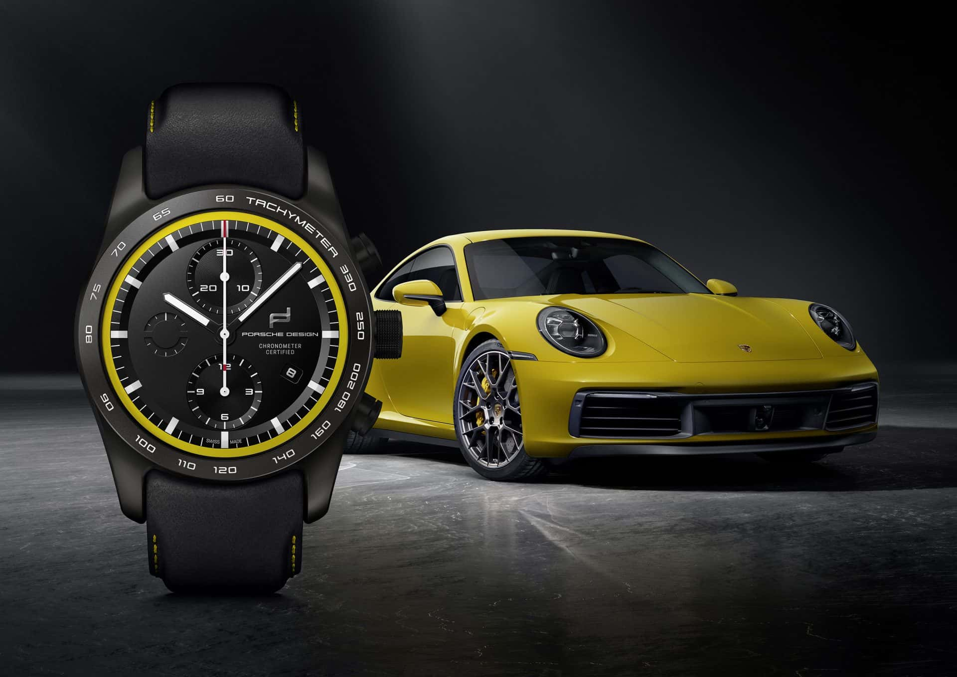 KV custom built Timepiecs 911 Carrera 4S Racing Yellow Black