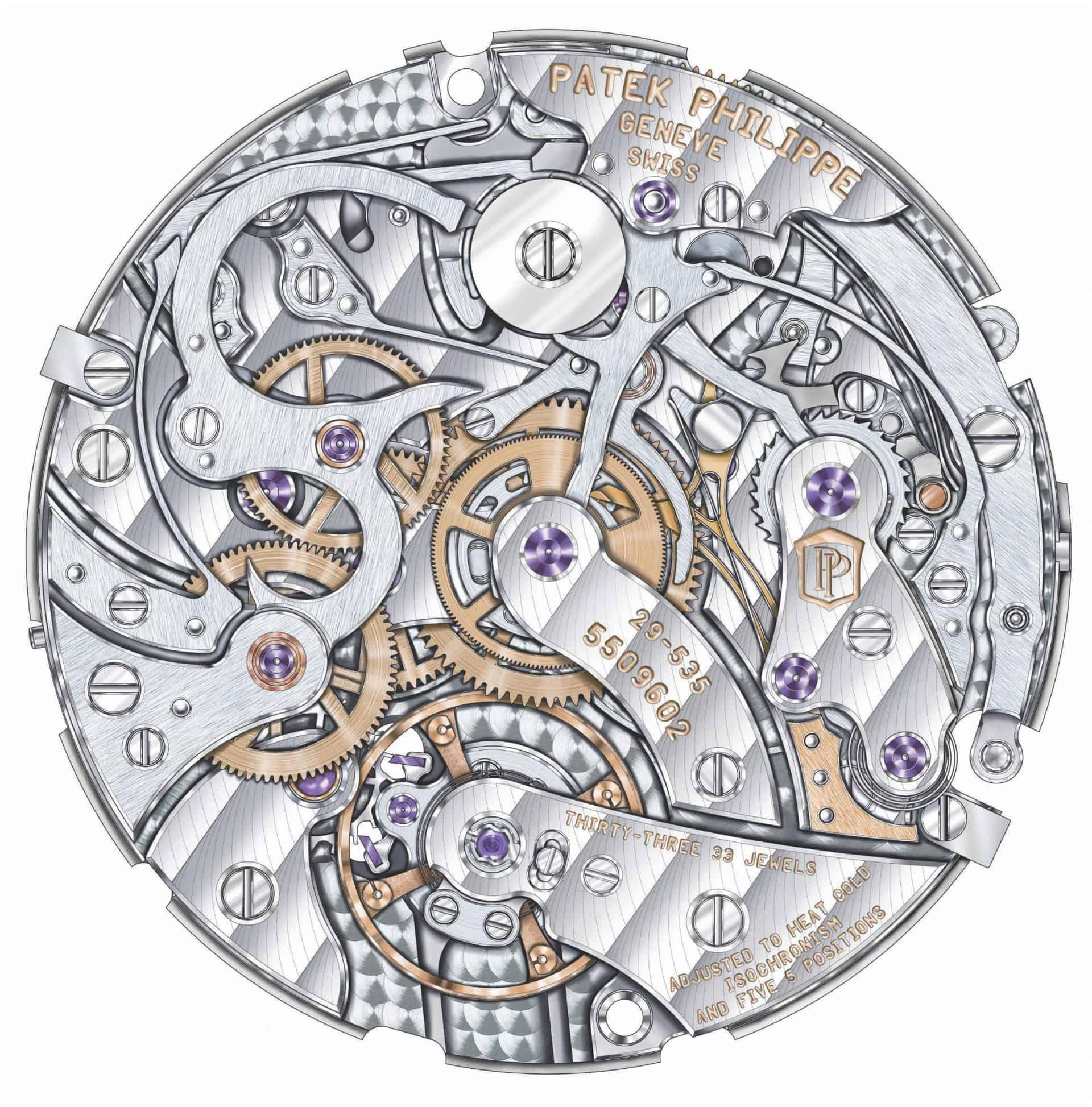 Chronographisches Basiskaliber CH 29-535 PS als Basis für das Rattrapante-Kaliber