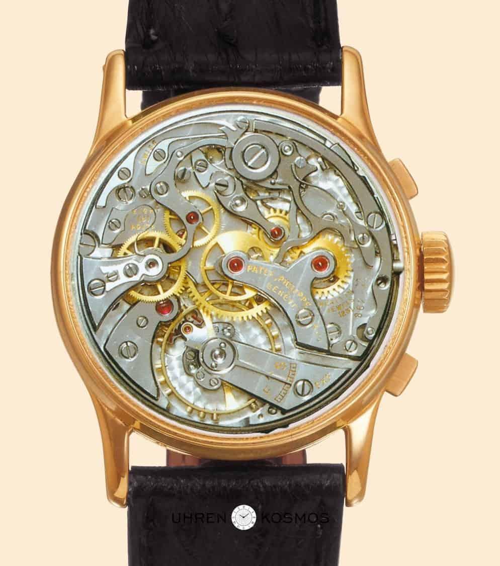 Als Basis des 13-linien Chronographenwerks diente Patek Philippe das Kaliber VZ des Spezialisten Valjoux.
