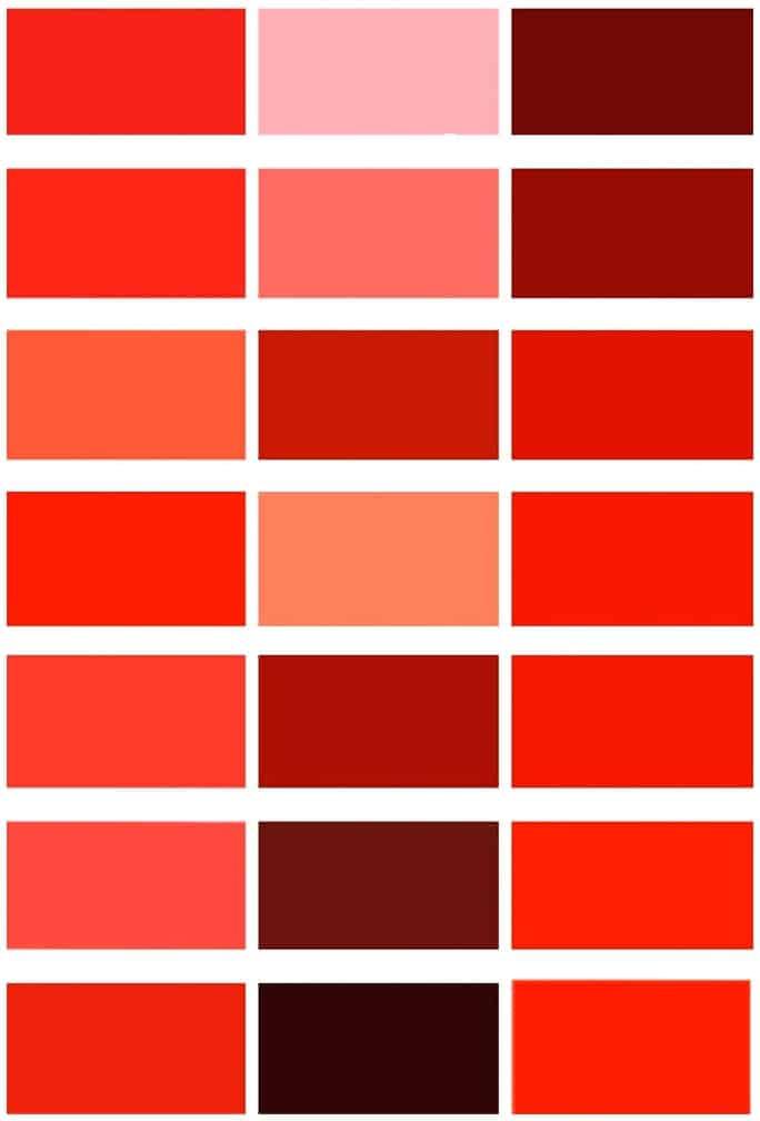 Die Farbtabelle zeigt es - Rot ist nicht gleich Rot.