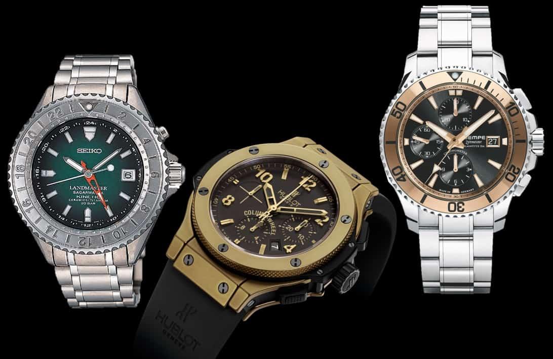 3 Uhren mit Cermet-Lünette: Seiko Landmaster SBCW021, Hublot Bullet Bang und Wempe Zeitmeister Sport Taucher Chronograph Cermet