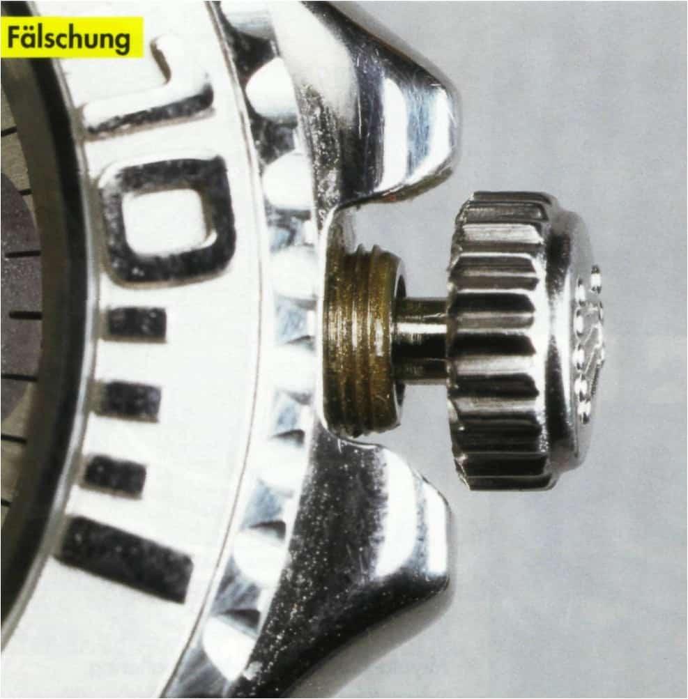 Nachgemachte Teile oder Fälschungen erkennt man am Detail: Hier die Fake-Krone einer Rolex