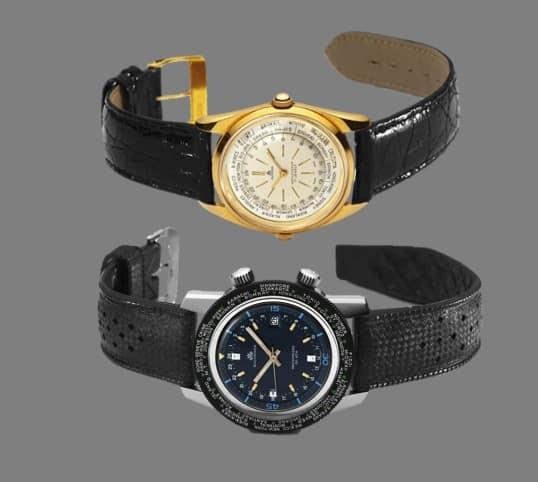 Zwei Vintage GMT Uhren - der Bucherer Worldtimer, 1950, und Archimedes Worldtimer, 1960, unten