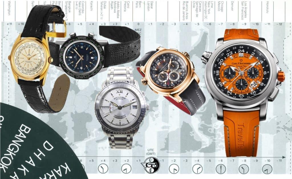 Zeitzonen-Armbanduhren von Bucherer und Carl F. Bucherer von 1950 bis 2020