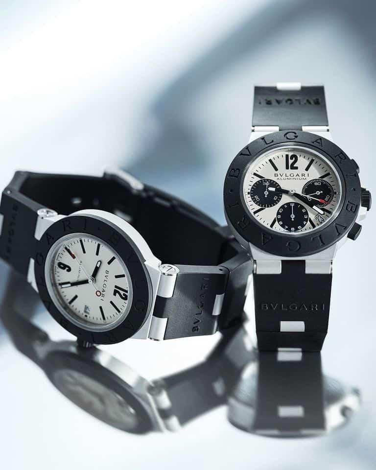 Aluminium-Uhrenmodelle Bulgari Aluminium mit Datum bzw. Chronograph