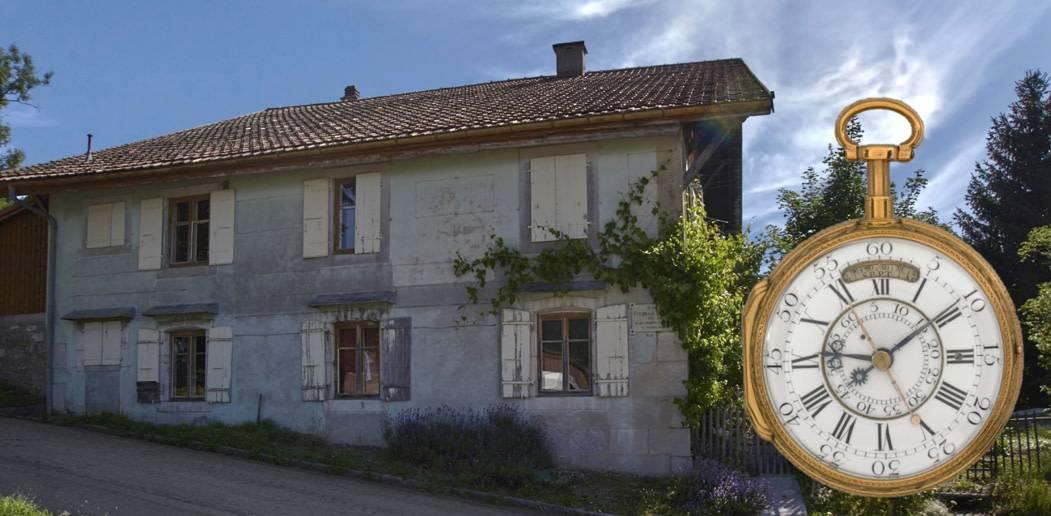 Das Geburtshaus von Ferdinand Berthoud im Val-de-Travers und die Taschenuhr des Meisters mit 30 Tagen Gangautonomie und Viertelrepetition, Nr. 333