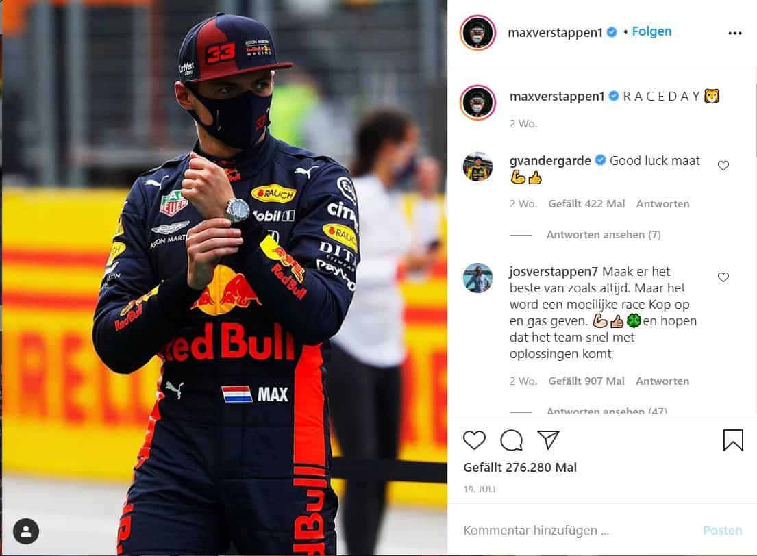 Max Verstappen und sein TAG Heuer Formula 1 Calibre 16 Chronograph in Silverstone - wo er auch gewann.