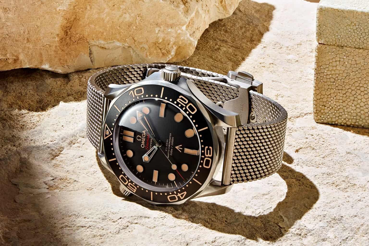 Vintage Look Omega Seamaster Diver 300M 007 Edition Meshband Titan