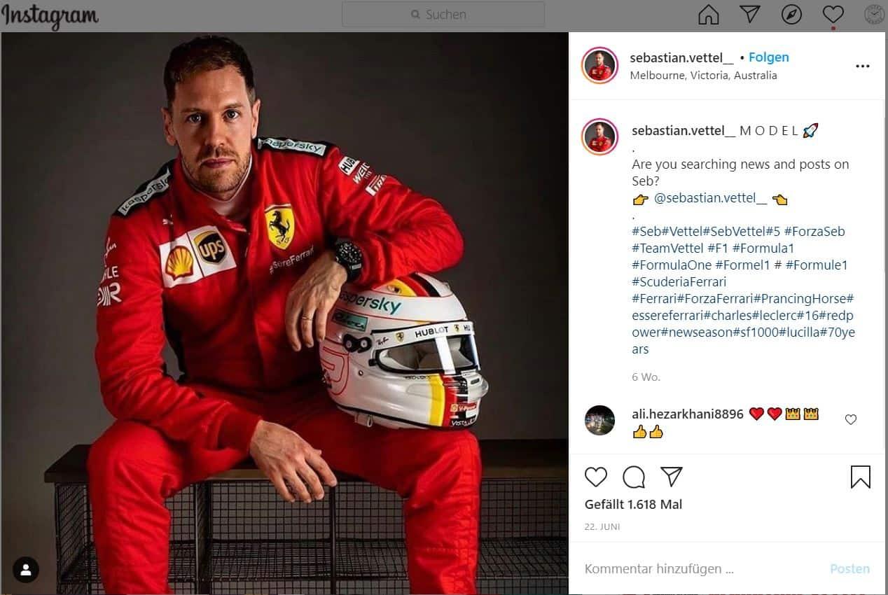 Sebastian Vettel im Ferrari Dress mit seiner schwarzen Carbon-Keramik Hublot Big Bang Unico