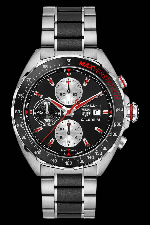 Die Uhr Max Verstappen TAG Heuer Formula 1 Calibre 16 - Tachymeter inklusive.