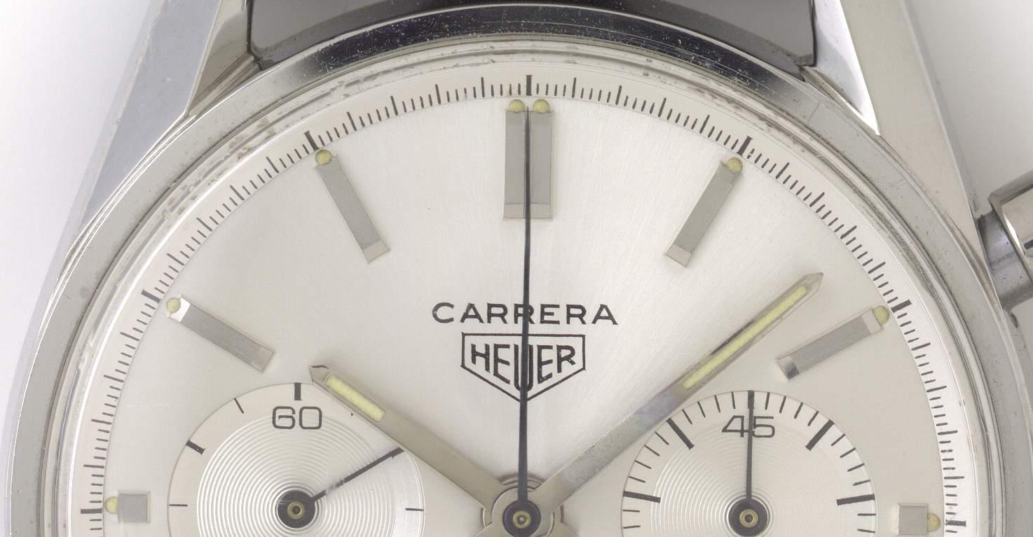 Zifferblatt- und Zeiger der Heuer Carrera von 1963