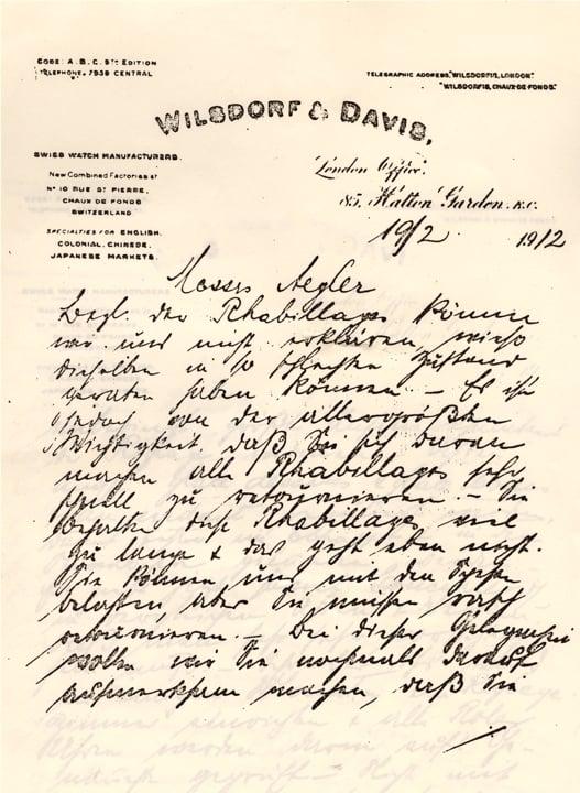 Der Hans Wilsdorf Brief an Aegler Teil vom 19. Februar 1912 Teil 1