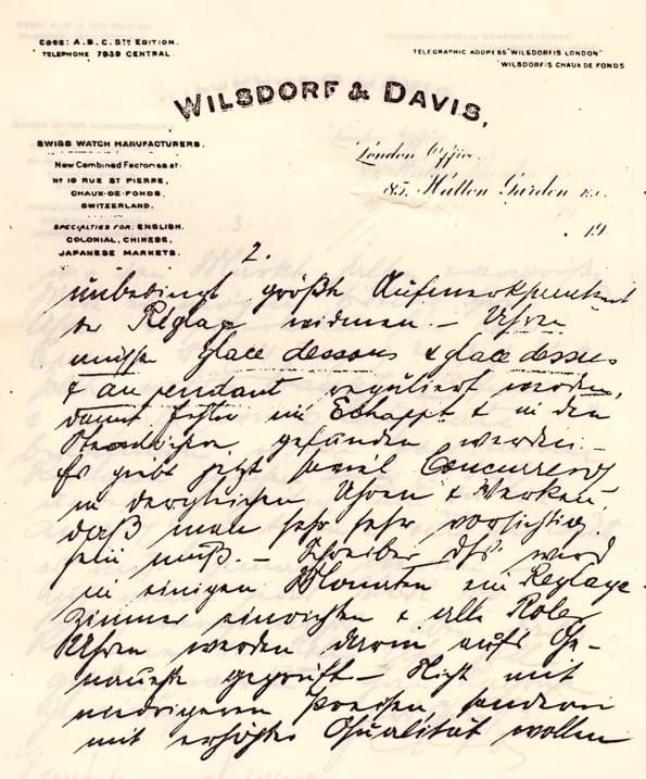 Brief von Hans Wilsdorf an seinen Partner Aegler vom Februar 1912
