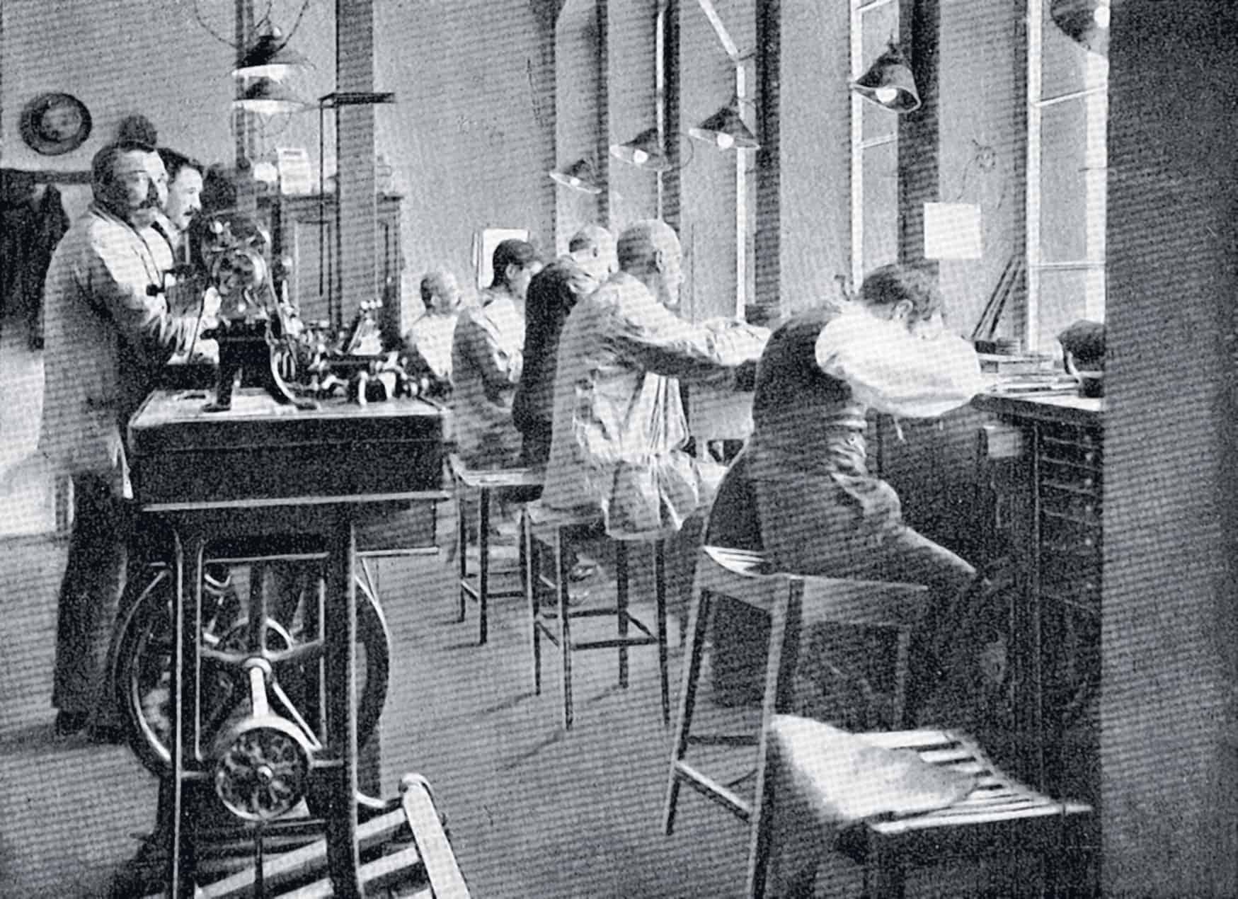 Die Historische Werkstätten im Hause A. Lange & Söhne vor gut 100 Jahren