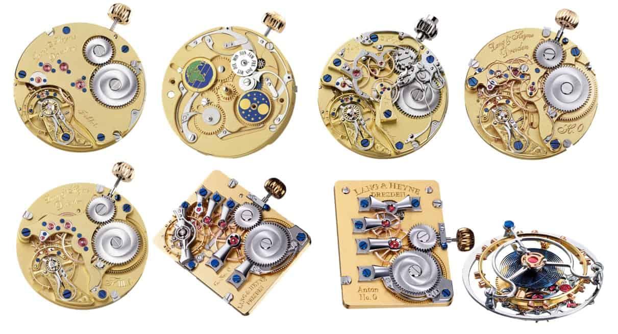 Lang & Heyne Manufakturkaliber I, III, IV, V,  VI, VIII und IX mit Tourbillon -  von links