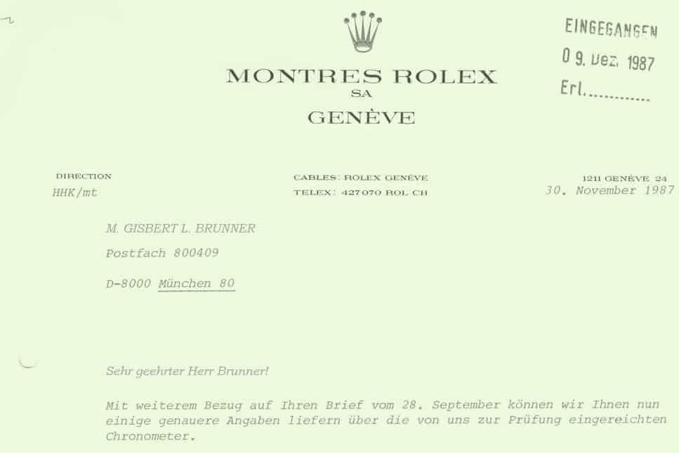 Im Brief von 1987 äußerte sich Hans Helmut Kübel, Großneffe von Hans Wilsdorf und Rolex-Direktor zu den Chronometerprüfungen in verschiedenen Epochen