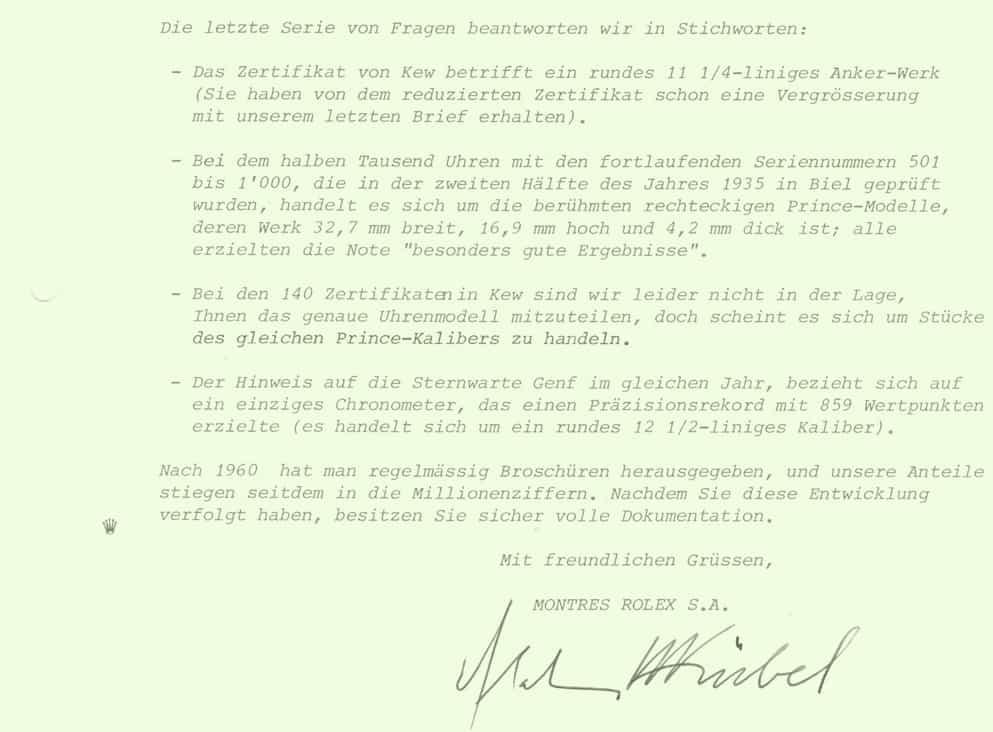 Brief zu den Rolex zertifizierten Chronometer Zertifikaten und Prüfungen als Basis des Erfolgs