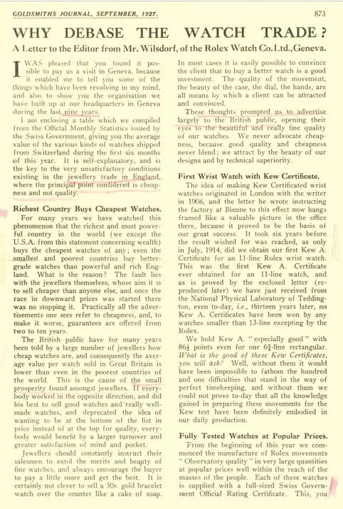 Rolex Chronometer Brief Hans Wilsdorf an Redaktion Goldsmiths Journal 1927 Teil 1
